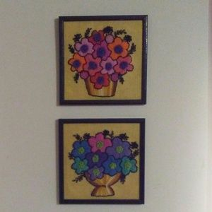 Vintage funky flower embroidered pictures